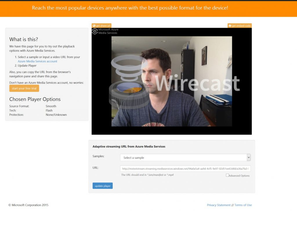 Wirecast live feed