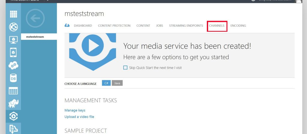 media services channels 1
