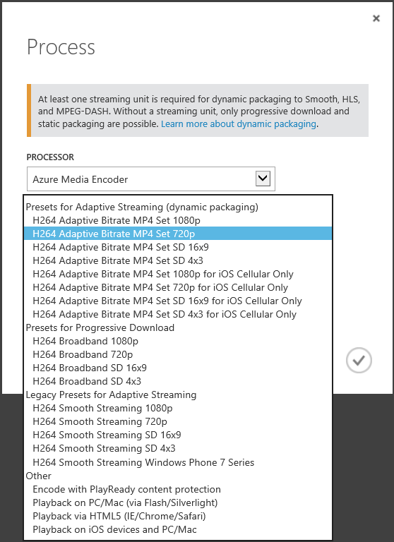 Azure Media Services Encoding Config