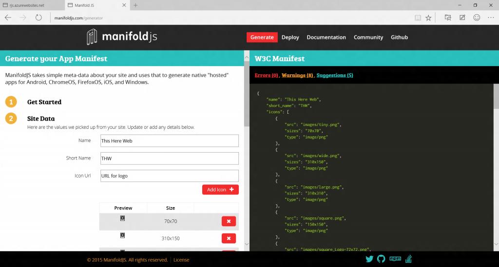 manifold app manifest generator
