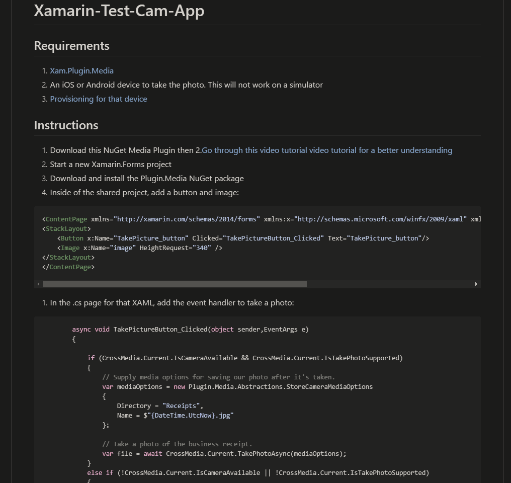 Small sample for using the camera on a Xamain Forms app